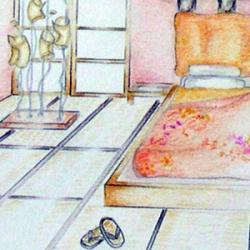 Progetto di arredo di una camera padronale in stile giapponese
